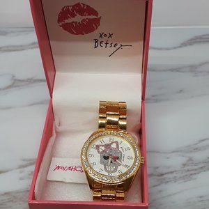 Betsey Johnson Gold Tone Bracelet Pink Bow Skull